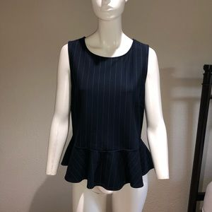 NWT 💎 Ann Taylor Navy Pin Stripe Peplum Top